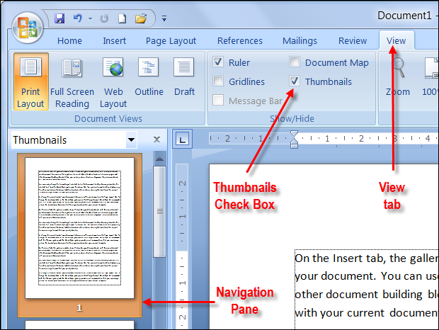 how to set up navigation in word